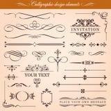 Vektordesignbeståndsdelar och gränsar vektor illustrationer