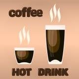 Vektordesignbeståndsdelar kuper kaffe och handen drog stora bokstäver för textfron som isoleras på ljus - brun bakgrund Arkivbild