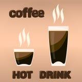 Vektordesignbeståndsdelar kuper kaffe och handen drog stora bokstäver för textfron som isoleras på ljus - brun bakgrund Royaltyfri Bild