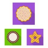 Vektordesignen av kexet och bakar symbolen Samling av kex- och chokladmaterielsymbolet f?r reng?ringsduk royaltyfri illustrationer