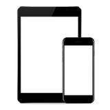 Vektordesignen, förlöjligar upp telefon- och minnestavlasvartfärg på vit vektor illustrationer