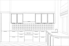 Vektordesignprozess in Drahtrahmen Illustration Stockbilder