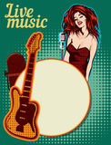 Vektordesignschablone, Musikthema Gitarre und Retro- Mikrofon stockbild