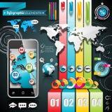 Vektordesignuppsättning av infographic beståndsdelar. Världskarta- och informationsdiagram. Royaltyfri Bild