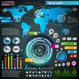 Vektordesignuppsättning av infographic beståndsdelar. Världskarta- och informationsdiagram. Royaltyfria Bilder
