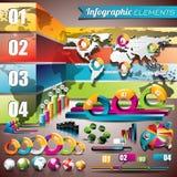 Vektordesignuppsättning av infographic beståndsdelar. Världskarta- och informationsdiagram. Arkivfoto