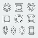 Vektordiamant schneidet Ikonen lizenzfreie abbildung