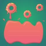 Vektordonutdesign in den tadellosen grünen und rosa Steigungsfarben Entwerfen Sie für den Gruß, Geburtstag, Einladungskarten, Men Lizenzfreies Stockbild