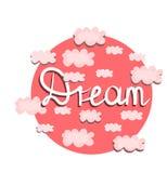 Vektordruck, Illustration mit rosa Wolken B?ttenpapierboot in einer Flasche lizenzfreie abbildung