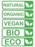 Vektorecoen, organisk bio logo cards mallar Handskrivet sunt ?ter symbolsupps?ttningen Strikt vegetarian, naturlig mat och drinkt royaltyfri illustrationer