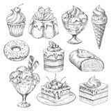 Vektorefterrätter och kakor för bageri skissar symboler vektor illustrationer