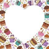 Vektorefterrätter och sötsaker stock illustrationer