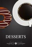 Vektorefterrättmeny med kaffe och munken Arkivbilder