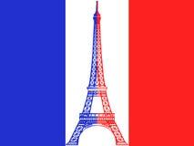 VektorEiffelturm und französische Markierungsfahne Lizenzfreie Stockfotografie