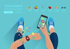 Vektoreignungs-Frauenhand mit smartwatch Lizenzfreies Stockfoto