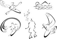 Vektoreinfarbige Abbildung des Wassersports Lizenzfreie Stockfotos