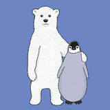 Vektoreisbär und -Pinguin Stockbild