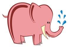 Vektorelefant- och vattendroppar Arkivfoton