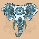 Vektorelefant på Henna Indian Ornament Arkivbild