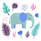 Vektorelefanttreiben wilde Tierbetriebsblumen Blätter stock abbildung