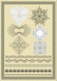 Vektorelement för valuta, certifikat eller diplom Royaltyfria Bilder