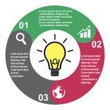 Vektorelement mit 3 Schritten in drei Farben mit Aufklebern, infographic Diagramm Geschäftskonzept von 3 Schritten oder von Wahle vektor abbildung