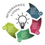 Vektorelement mit 4 Schritten in vier Farben mit Aufklebern, infographic Diagramm Geschäftskonzept von 4 Schritten oder von Wahle stock abbildung
