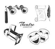 Vektorelemente für Theateraufkleber oder -embleme Lizenzfreie Stockfotos