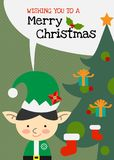Vektorelfencharakter-Grußkarte der frohen Weihnachten Stockfotografie