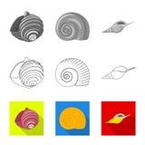 Vektorentwurf der Tier- und Dekorationsikone Sammlung des Tier- und Ozeanaktiensymbols f?r Netz lizenzfreie abbildung