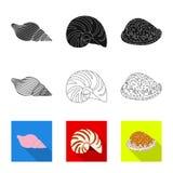 Vektorentwurf des Tier- und Dekorationszeichens Sammlung der Tier- und Ozeanvorratvektorillustration stock abbildung