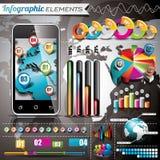 Vektorentwurfssatz infographic Elemente. Weltkarte- und Informationsgraphiken. Stockfoto