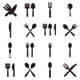 Vektorer för kökgaffel- och skedsymbol royaltyfri illustrationer