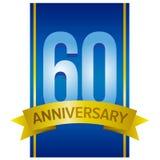 Vektoretikett för den 60th årsdagen Arkivfoto