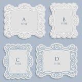 Vektoretikett, tappningram för en inskrift, calligraphic prydnad, mall som klipper papper royaltyfri illustrationer