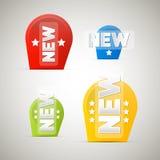 Vektoretiketter, etiketter med ny titel Arkivfoton