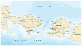 Vektorfärdplan av indones Lesser Sunda Islands Bali och Lombok Arkivfoton