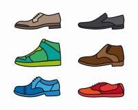 Vektorfärg skor symbolsuppsättningen Royaltyfri Bild