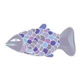 Vektorfärgfisk med stor våg Arkivfoto