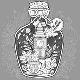Vektorfärgläggningbok för vuxna människor En glass skyttel med minnen av hösten och förälskelse En flaska med bin, regn, höstsido royaltyfri illustrationer