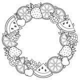 Vektorfärgläggningboken för vuxen människa, for meditationen och kopplar av Rund form av vattenmelon, jordgubbar, citruns, körsbä Arkivfoto