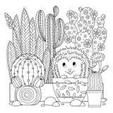 Vektorfärgläggningsida Linjär bild på den gulliga kaktuns för vit bakgrund för sidan för färgläggningbok Konturbilden av kaktuns  royaltyfri illustrationer