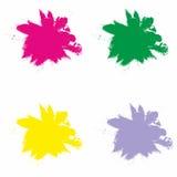 Vektorfärgstänk i rött, grönt, gult och Violet Color Ilustratio Arkivfoto