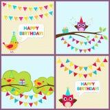 Vektorfödelsedagkort med fåglar Arkivfoton