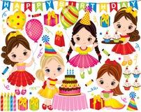 Vektorfödelsedaguppsättning med gulliga små flickor och partibeståndsdelar vektor illustrationer