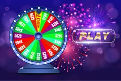 Vektorförmögenhethjul, online-kasinodesignbegrepp objekt 3d på abstrakt defocused bakgrund för cirkulärblåttbokeh royaltyfri illustrationer