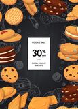 Vektorförsäljningsbakgrund med tecknad filmkakor på den svarta svart tavlan med stället för text stock illustrationer