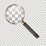 Vektorförstoringsapparat på en genomskinlig bakgrund Förstoringsglassymbol Sökande-, forskning-, kriminalare- eller utredningsymb arkivfoto