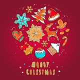 Vektorfahne der frohen Weihnachten und des guten Rutsch ins Neue Jahr Lebkuchenplätzchenkonzept Verschiedene Winterelemente: Schn lizenzfreie abbildung