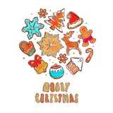 Vektorfahne der frohen Weihnachten und des guten Rutsch ins Neue Jahr Lebkuchenplätzchenkonzept Verschiedene Winterelemente: Schn stock abbildung